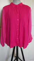 Splendid Pink Rayon Voile High Low Shirt Button Up Plus Sz 1X N3 - $8.60