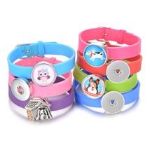 colorful beauty silicone bracelet 20cm fit 18mm snap buttons DIY snap je... - £5.01 GBP