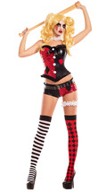Sexy Party King No Good Harlequin Jester Sequin Corset Costume PK711 - $57.99