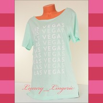 PINK Victoria's Secret LAS VEGAS Pajama T-Shirt Sleepshirt Cropped Neck ... - $15.83