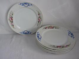 Vtg Set of 6 Hand Painted Ceramic Dinner Plates White Pink Floral Blue H... - $29.69