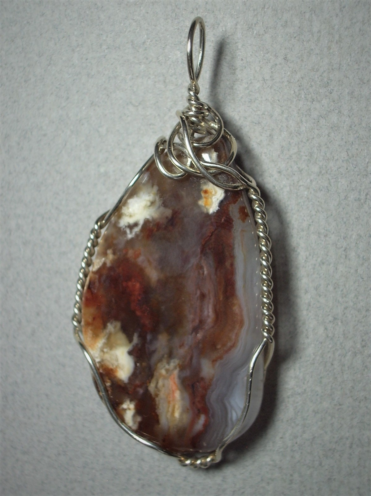 Primary image for Coprolite Petrified Dinosaur Dung Pendant Wire Wrapped .925 Sterling Silver by J