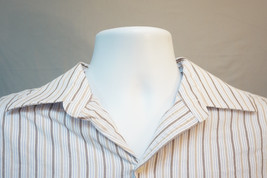 Tommy Hilfiger Midweight Cotton Button-Front Shirt,White, Striped, Large 7613 - $8.81