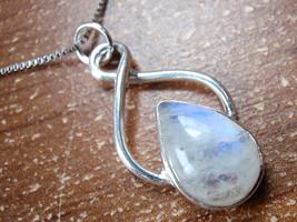 Moonstone Pendant Infinity Hoop Proclaims Infinite Love 925 Sterling Silver d27b - $17.77