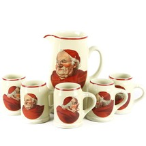 "Vintage ""Red Monk"" Decal Beer Tankard/Pitcher and Five Mugs by Hall - $422.72"