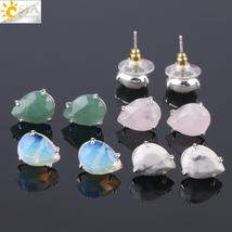 CSJA Water Drop Shape Stud Earrings Silver Color Natural Stone Faceted Pink Quar - $10.00
