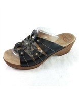 Dansko Black Leather Floral Sandals Slides Wedge Heel Womens 43 US 12.5 ... - £28.71 GBP