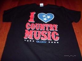 I LOVE COUNTRY MUSIC Heart Tennessee TN T Large L Black gildan Reba  Tee... - $12.86