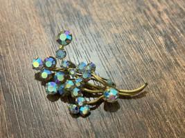 Vintage Costume Jewelry Blue Rhinestones Brooch/Pin  - $23.75