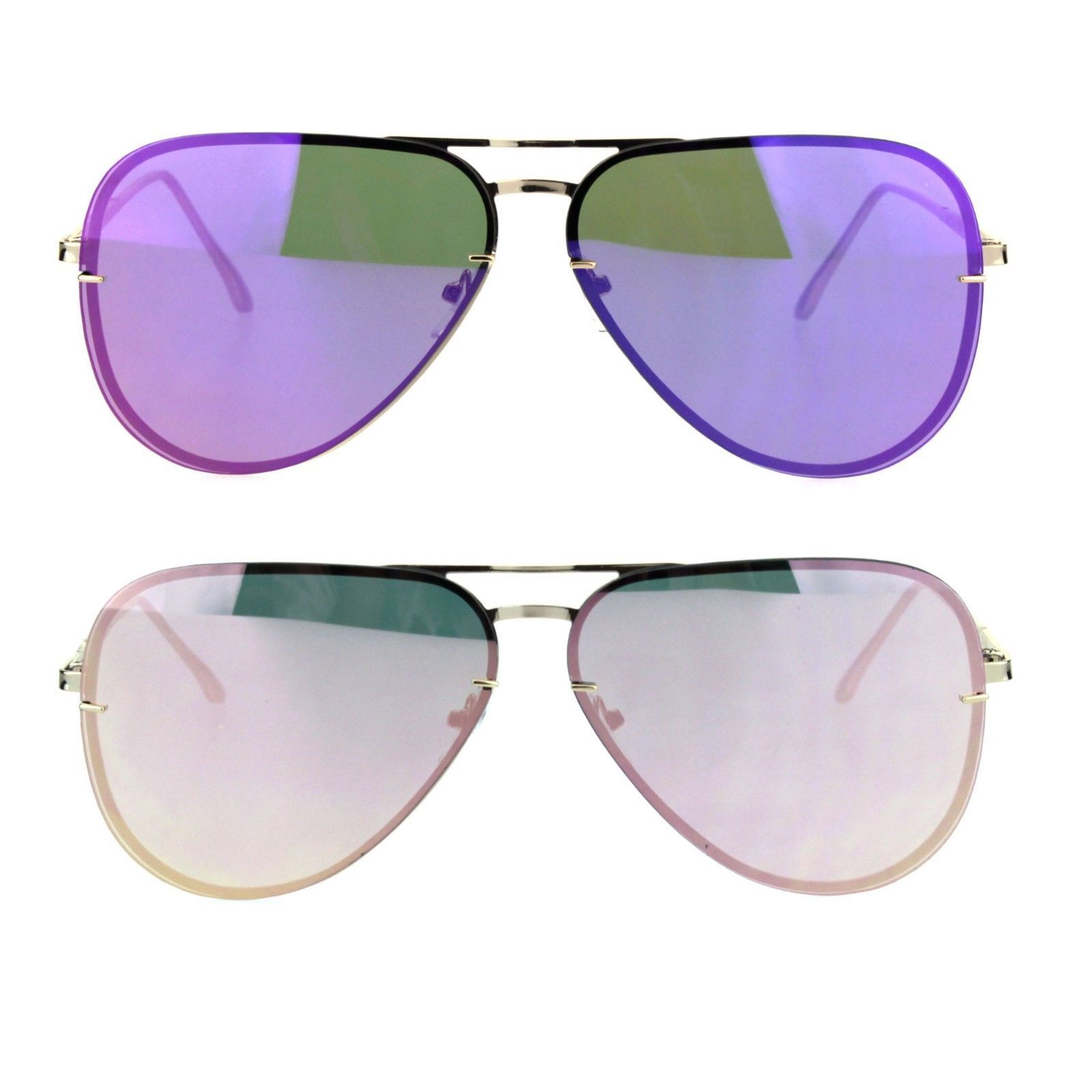 Womens Gold Rim Exposed Mirror Lens Officer Pilots Fashion Sunglasses