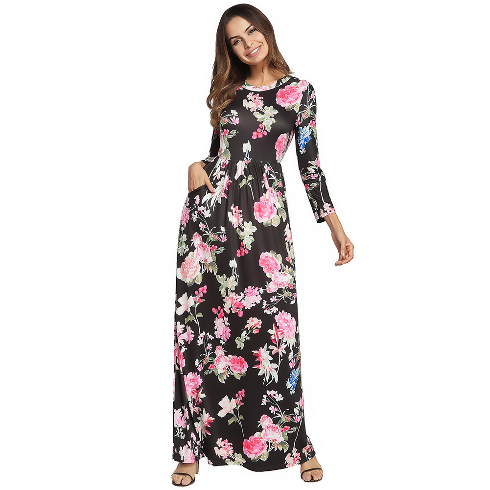AOVEI Black Floral Print Long Sleeve Boho Maxi Long Tube Beach Dress Robe