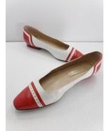 Etienne Aigner Low Heel Flats 9N Keely Red White Detail Trim Handcrafted... - $29.99