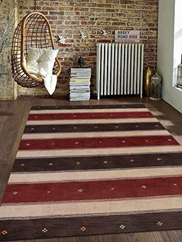 Primary image for Rugsotic Carpets Hand Knotted Gabbeh Wool 6' x 9' Area Rug Contemporary Brown Be