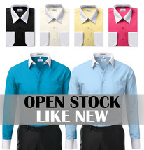 New Open Box Repackaged Men's Long Sleeve Two Tone Dress Shirts Colors