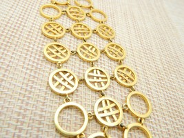 "Circle Cross Hatch Modernist Abstract Gold Tone Bracelet Vintage 7"" - $23.76"