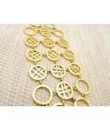 "Circle Cross Hatch Modernist Abstract Gold Tone Bracelet Vintage 7"" - $23.76"