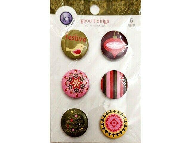 Ki Memories Good Tidings Metal Badges (Stickers), 6 Pieces #3155