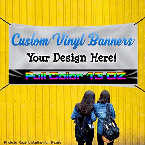 Custom Banner 5x9 Full Color Print Any Text or Logo, CFree Design 13 OZ. Hemmed