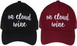 """ON CLOUD WINE"" - CC Embroidered Adjustable Ball Cap Hat - OS Fits Most - $15.99"