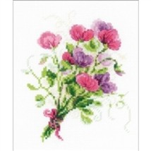 RIOLIS Counted Cross Stitch Kit, Bouquet With Sweet Peas, Kit #R1606 - $11.68