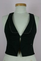 Guess Jeans Los Angeles Stretch Black Studded Racerback Vest Sz Small - $18.59