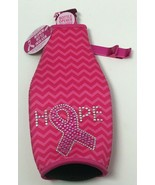 Novelty Breast Cancer Awareness Pink Neoprene Bottle Insulator W/Bottle ... - $11.87