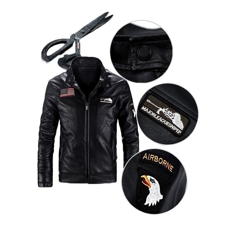 2018 new fashion Men's Fashion Coats and Jackets Black Faux Leather Jacket Motoc