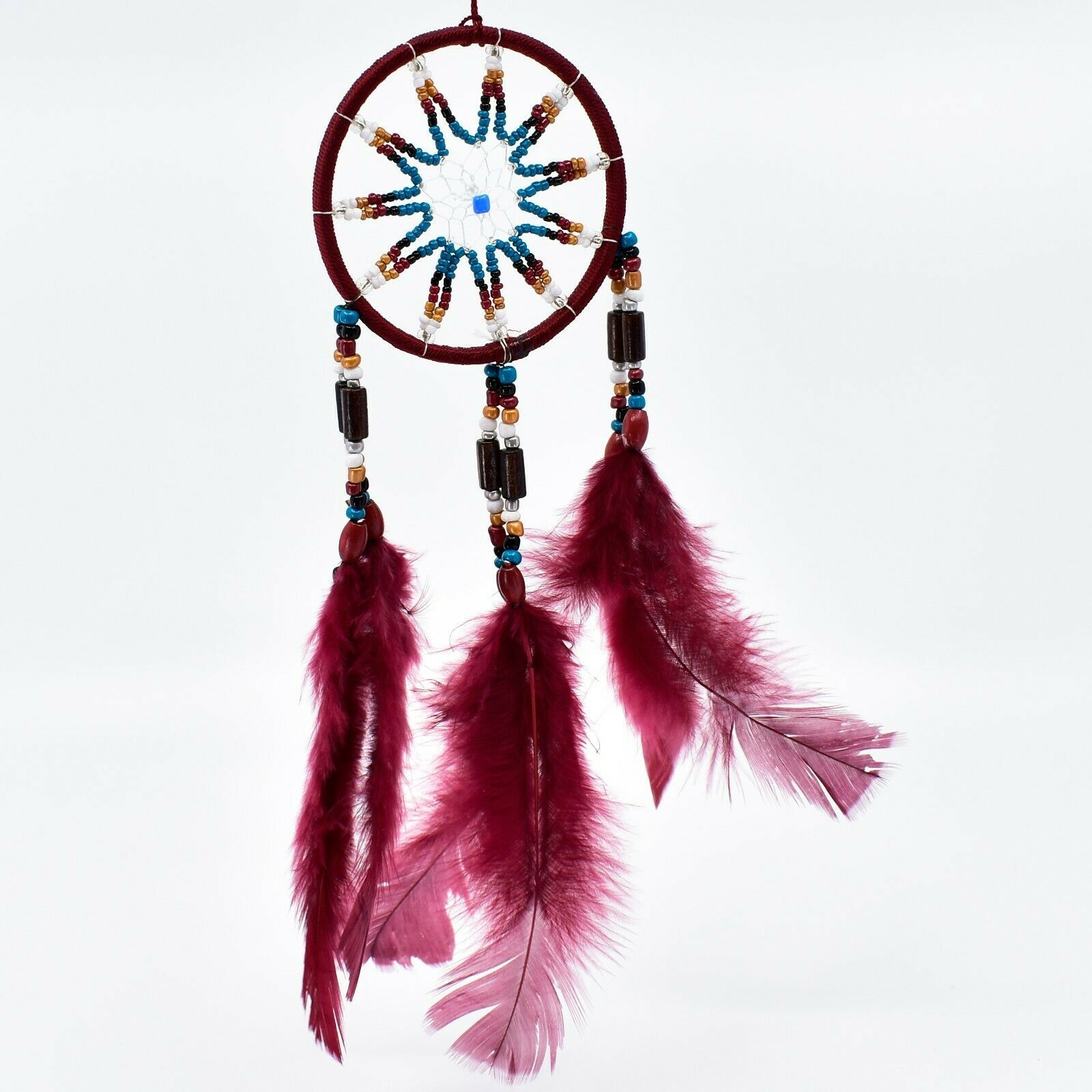 """Handcrafted Miniature 9"""" Maroon Red Dreamcatcher Plastic & Wood Beads Feathers"""