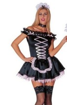 Sexy French Maid Costume Lace Up Dress Black & Pink Cosplay Size S NEW - $22.87