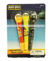 ANGRY BIRDS 3pc Markers STAR WARS w/Roller Stamps Set ORANGE+YELLOW+BLAC... - $2.97