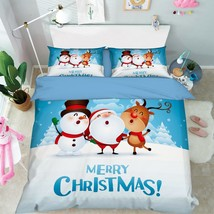 3D Happy Xmas 15 Bed Pillowcases Quilt Duvet Cover Set Single Queen King... - $64.32+