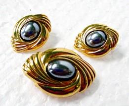 Vintage Avon Hematite Bolo Slide Brooch Pin & Earring Set - $9.95