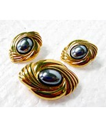 Vintage Avon Hematite Bolo Slide Brooch Pin & Earring Set - $13.45