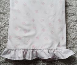 Twin Flat Ruffle Edge Pink Princess Crown on White Sheet Chic Shabby Cottage - $12.99