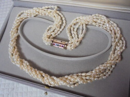 PEARLS NECKLACE 6 STRANDSwith gold plated clip and Swarovski crystals 1970s - $55.00