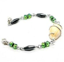 Bracelet the Aluminium Long 19 Inch with Shell Hematite and Crystals image 3