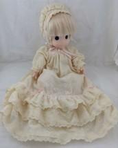 "Vtg Precious Moments 16"" Jenny Doll 1992 Eyelet Christening Gown Bonnet ... - $49.44"