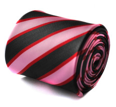 Pink Red and Black Striped Mens Tie by Frederick Thomas FT718 RRP £19.99