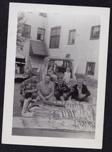 Old Vintage Antique Photograph Men Sitting on Ground With Tons of Fish L... - $6.93