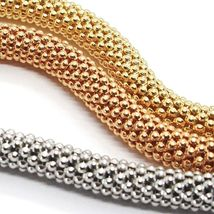 3 18K ROSE YELLOW WHITE GOLD BRACELETS 7.3 INCHES, BASKET WEAVE, 5 MM THICKNESS image 4