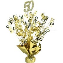 "2 Metallic Gold 50th Anniversary or Birthday Balloon Weights  15"" tall - $9.85"