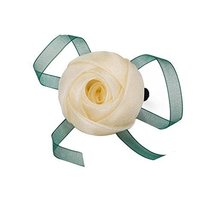 2 Pieces Hair Elastics Ties Ponytail Holders Rose Pattern Hairbands Faint Yellow