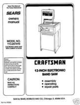 """Craftsman 12"""" Bandsaw Operators Manual 113.247410 - $10.88"""