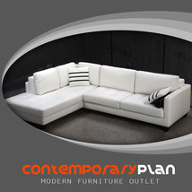 White Leather Sectional with Striped Pillows - Contemporary Modern 2pc Design - $2,195.00