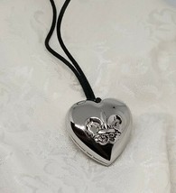 "Avon Outspoken By Fergie Heart Locket With Solid Perfume  Silvertone 26""... - $12.86"