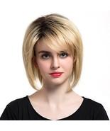 TopWigy Blonde Short Bob Wig Brazilian Human Hair Blend Natural Straight... - $49.62