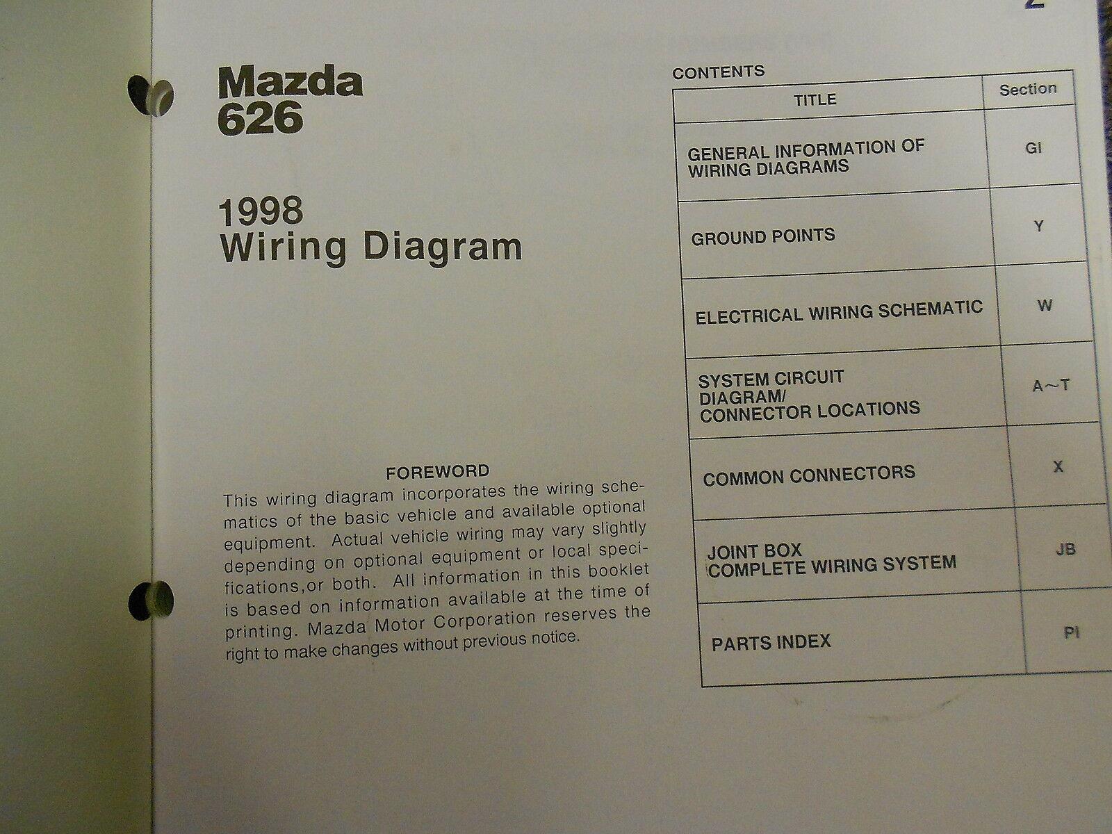 1998 Mazda 626 Elektrisch Wiring Service Reparatur Shop Manuell Fabrik OEM