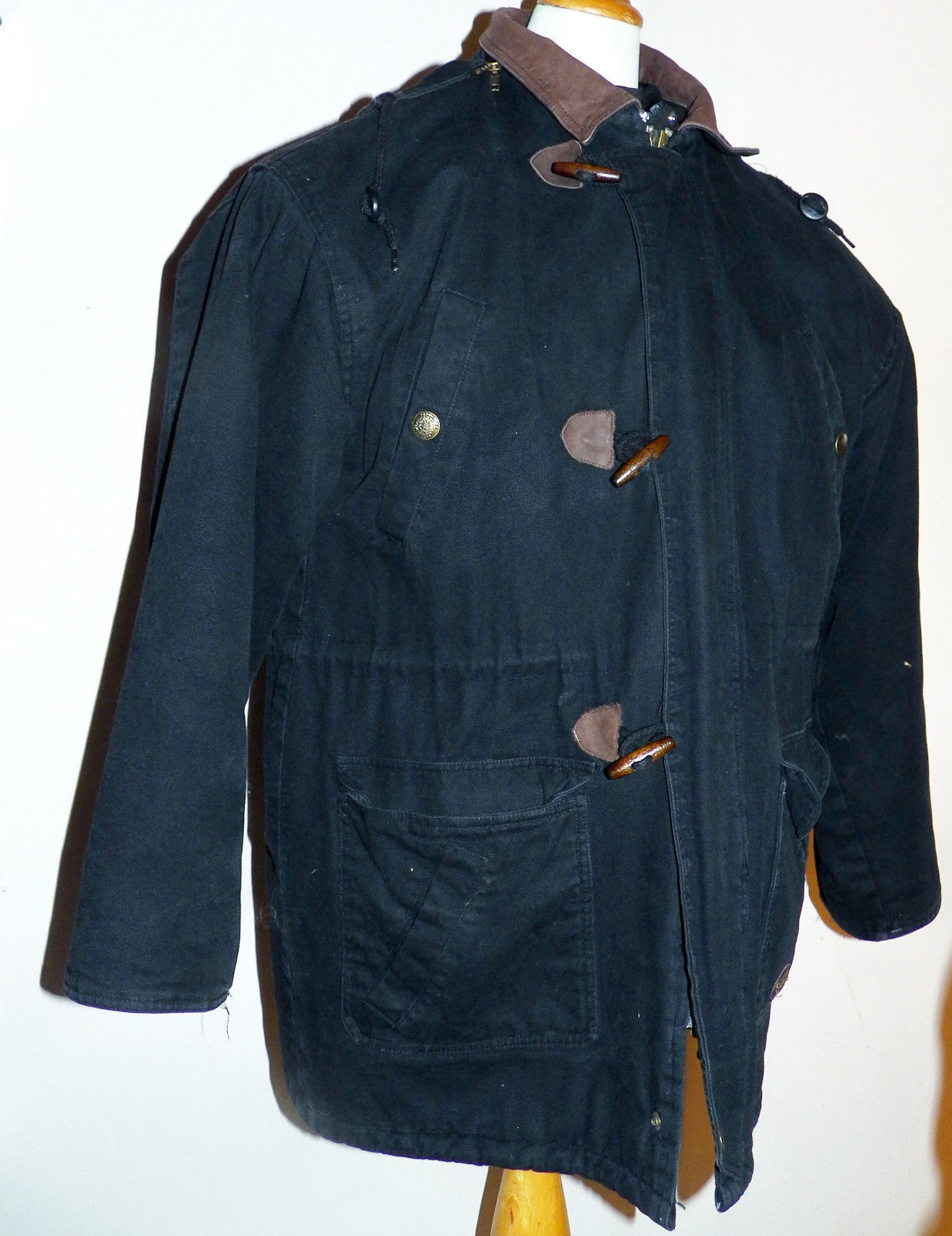 Tweed River Outfitters Black Cotton Canvas Hunting Fishing Jacket Barn Coat L