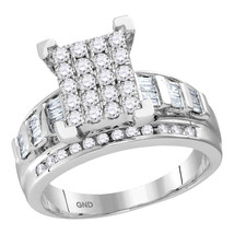 10kt White Gold Round Diamond Cluster Bridal Wedding Engagement Ring 1-1... - £1,139.56 GBP