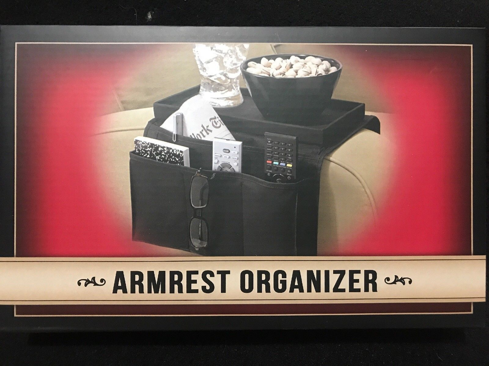 Samsonico USA 6-Pocket Nylon Armrest Organizer - Black SM-19960 Holiday Gift